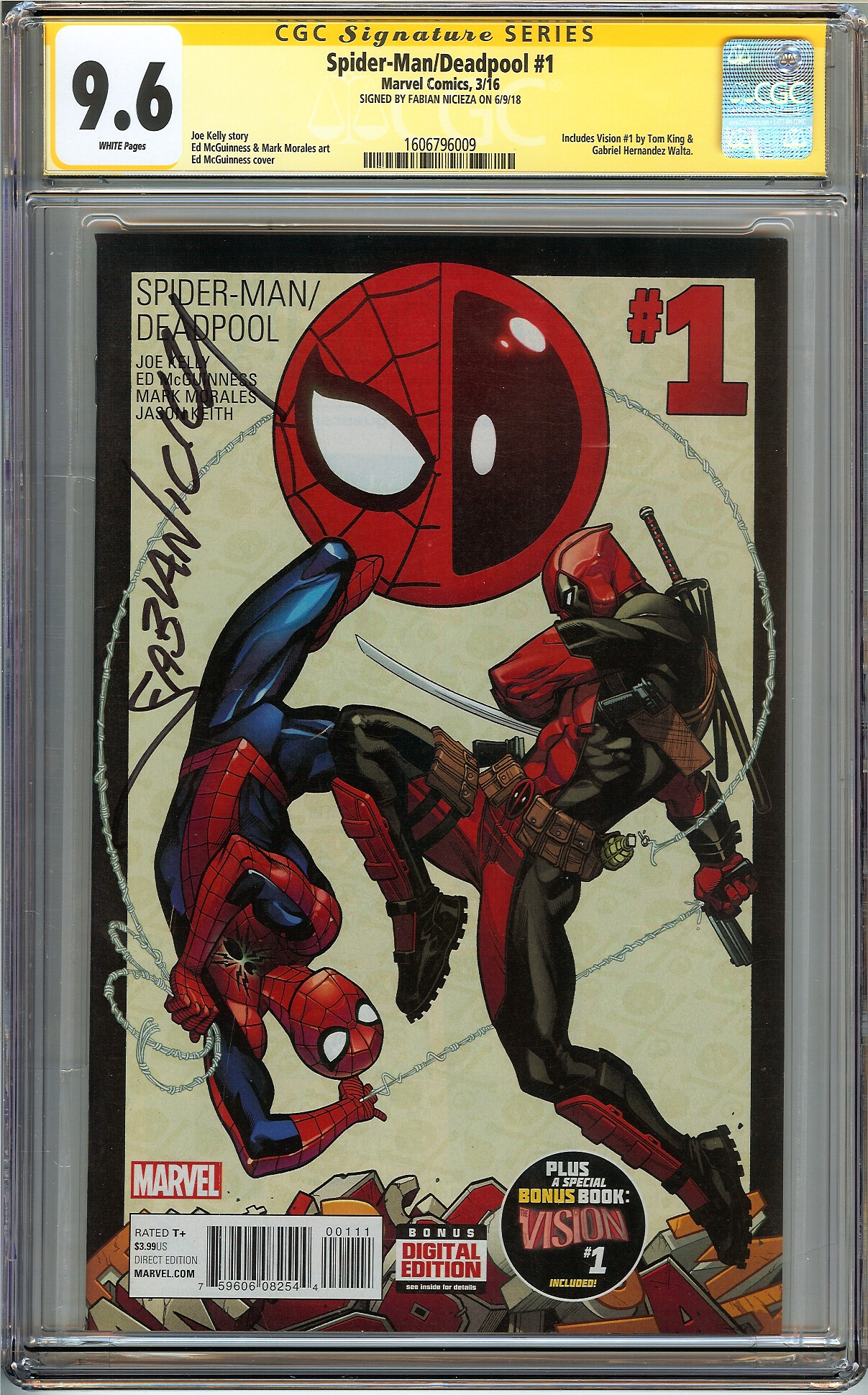 Details about Spider-Man Deadpool #1 CGC 9.6 NM+ SIGNED FABIAN NICIEZA Not  9.8 ED MCGUINNESS
